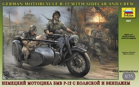 German WWII Sidecar R12 with crew