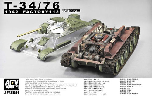T-34/76 1942 Factory 112  transparent Hull !  1/35