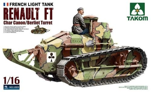 French Heavy Tank RENAULT FT char Canon 1/16