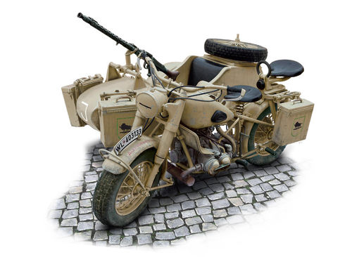 German Military Motorcycle with side car  1/9