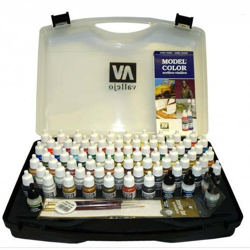 Vallejo Basic Hobby + Brushes Model Color Set (72pcs)