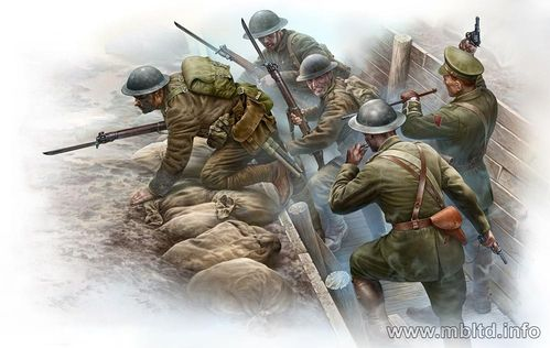 British infantry before attack,WWI era 1/35