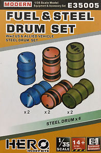 WWII Alied Fuel Steel Drum set 1/35