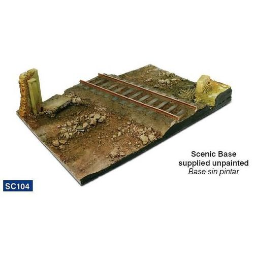 Diorama Base: Country road cross with railway section 31x21 cm