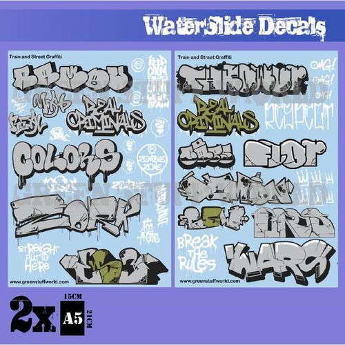 Decals Train and Graffiti Mix - Silver and Gold