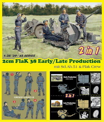 2cm FlaK 38 Early/Late Production mit Sd.Ah.51 and Flak Crew1/35
