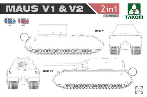 Panzerkampfwagen  Maus V1 & V2  2 in 1 (Limited Edition)   1/35