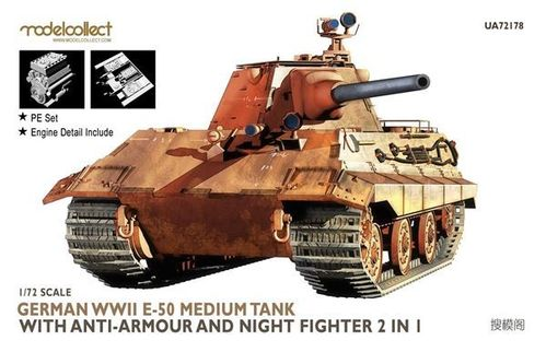 E-50 Medium Tank with anti-armour and night fighter 2 in 1  1/72