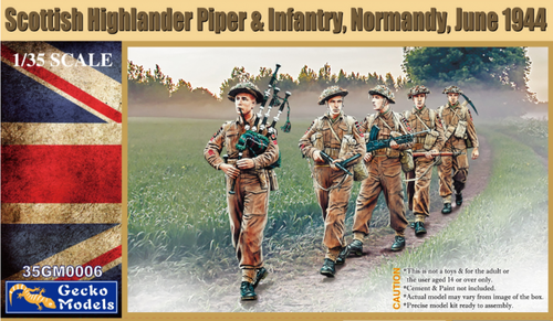 Scottish Highlander Piper & Infantrie - Normandy 1/35